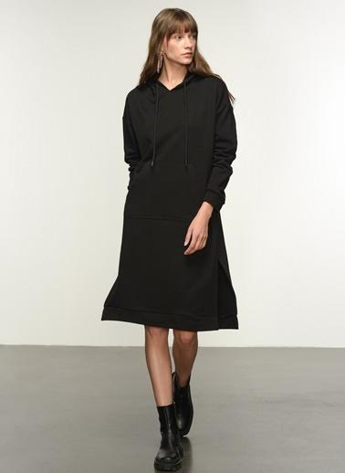 NGSTYLE Ngkaw21El0010 Kapşonlu Sweat Elbise Siyah